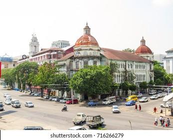 Accountant general's office, Pansodan Lan, Yangon, Myanmar. This is Myanmar's heritage former colonial buildings.