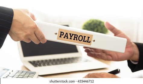 Accountant to send payroll folder to account manager. Concept of bookkeeping, accountancy.