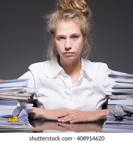 Accountant sitting at the desk at work