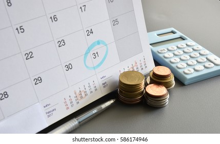 Accountant verify and check Due date for payment Expense and Vendor of financial Business / Bookkeeping / Due date  / Money / Accountancy Concept.
