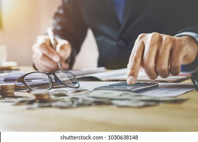 accountant working in office. business finance and accounting concept