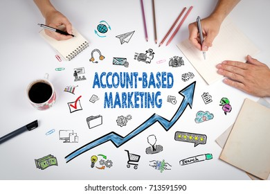 Account-Based Marketing Concept. keywords and icons on white background