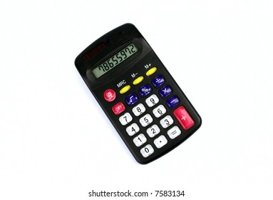 Accounting black calculator isolated on white background
