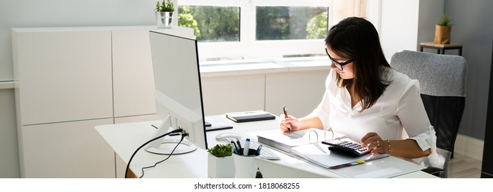 Accounting Bookkeeper Clerk Woman. Bank Advisor And Auditor