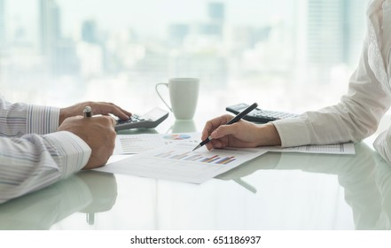 Accounting business concept. Manager analyze financial numbers to view the performance of the company.