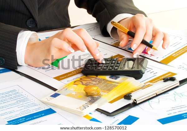Accounting. Business woman hands in office. Money, coin