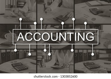 Accounting concept illustrated by pictures on background