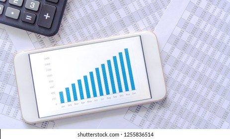 Accounting data document with graph on mobile phone