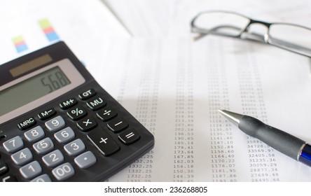 Accounting desktop, closeup