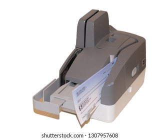 Accounting and finance. Office bank check scanner and MICR reader isolated on the white background at different angles