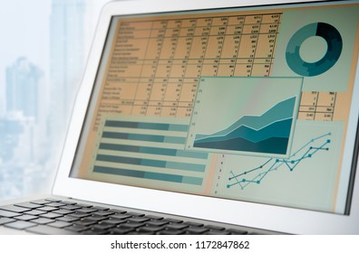 accounting financial concept. business report spreadsheet on computer screen.