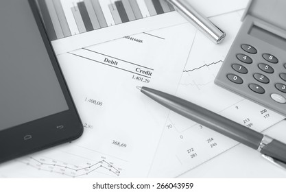 accounting management, finance bill with calculator