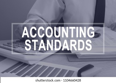 Accounting standards concept. Man working with report.