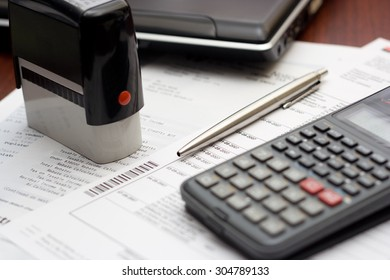Accounting Table Setting - calculator paperwork