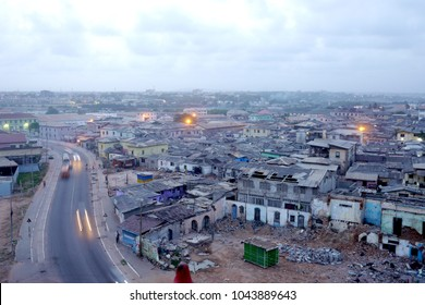Accra, Ghana - 5 August 2015 : The fish market district of Accra, Ghana is densely populated with shacks.