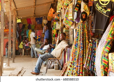 Accra, Ghana, August 22, 2009: traditional textile market in Accra, Ghana