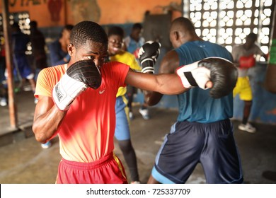 ACCRA - GHANA - AUGUST 23, 2017: Unidentified boxer practice in a small boxing club on August 23, 2017 in Accra, Ghana