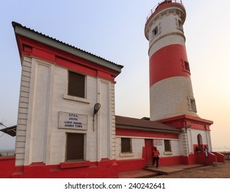 ACCRA, GHANA - DECEMBER 27, 2014: The Jamestown Lighthouse is no longer used but offers a great view of the surrounding area.  It operates from 6 pm to 6 am powered by a solar charged battery.
