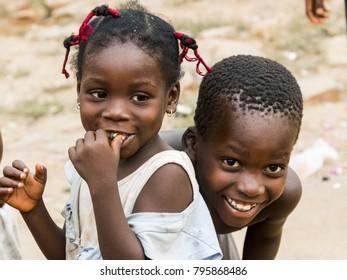 Accra, Ghana - December 28, 2016: happy African children in Accra, Ghana.