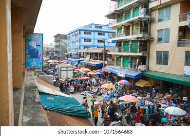 Accra, Ghana - Feb 26, 2017: A beautiful view of Makola Market, a big market of all kind of products in the center of Accra, Capital of Ghana.
