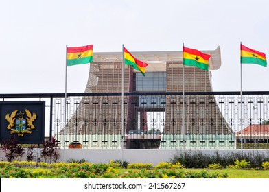 """ACCRA, GHANA - FEBRUARY 23, 2012: The Flagstaff House, commonly known as """"Flagstaff House"""", is the presidential palace in Accra which serves as a residence and office to the President of Ghana."""