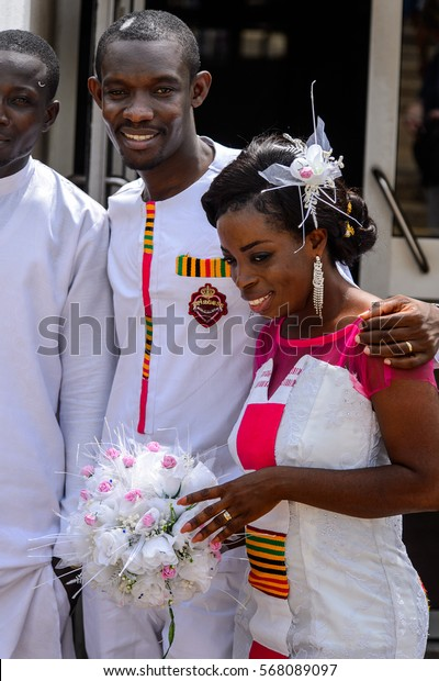 ACCRA, GHANA - JAN 8, 2017: Unidentified Ghanaian bride and groom on their wedding day. People of Ghana suffer of poverty due to the economic situation