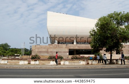 Accra, Ghana -July 23, 2013:The National Theatre of Ghana was built by China in 1992 in Accra. There is the National Dance Company, the National Symphony Orchestra and the National Theatre Players