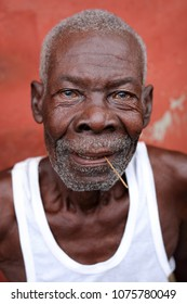 ACCRA - GHANA - JULY 30, 2017: Unidentified old fisherman of the Ga people on July 30, 2017 in the fishing village Jamestown in Accra, Ghana