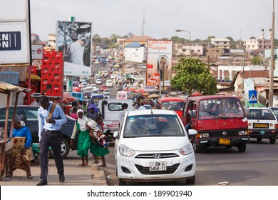 ACCRA, GHANA - MARCH 18: Traffic on road in Accra, capital city of Ghana on March 18, 2014 in Accra, Ghana. Ghana is one of the most popular tourists destination in Africa.