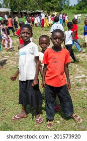 ACCRA, GHANA - MARCH 3, 2012: Unidentified Ghanaian children pose for the camera in Ghana. People of Ghana suffer of poverty due to the unstable economic situation