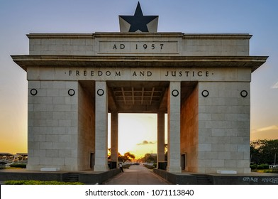 Accra, Ghana - November 11, 2014: The Independence Arch of Independence Square of Accra, Ghana at sunset. It commemorates the independence of Ghana, a first for Sub Saharan Africa.