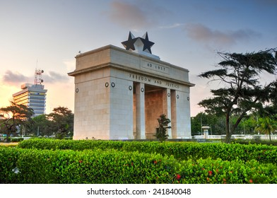 "ACCRA, GHANA - NOVEMBER 14, 2011: The Independence Arch of Independence Square of Accra at sunset. Inscribed with the words ""Freedom and Justice, AD 1957"", commemorates the independence of Ghana."