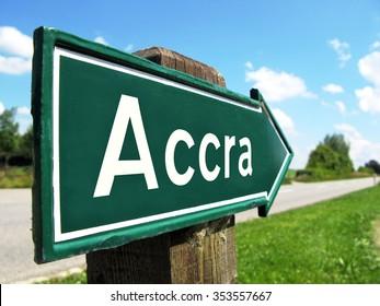 Accra signpost along a rural road