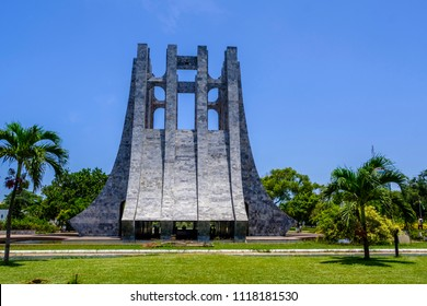 ACCRA,GHANA - APRIL 11 2018: Stunning marble Mausoleum of Kwame Nkrumah, founding father and first president of Ghana in Memorial Park Accra with its black star symbol