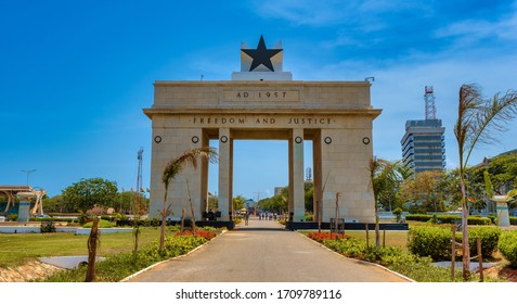 ACCRA,GHANA/MAY 1,2018: The monument of independence in the city