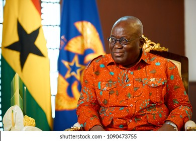 ACCRA,GHANA/MAY 2,2018: The President of the Republic of Ghana Nana Akufo-Addo during an interview with the Russian television