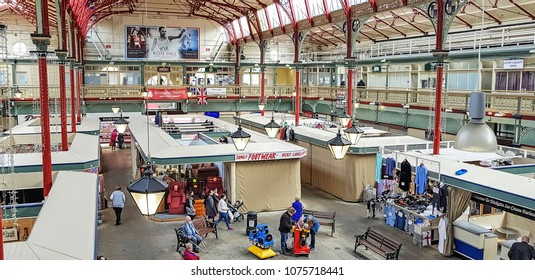ACCRINGTON, UK - APRIL 18, 2018: The interior of Accrington Market. This Victorian Market Hall is next to the Town Hall and is adjacent to the main pedestrian shopping street, Broadway