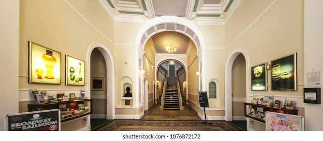 ACCRINGTON, UK - APRIL 18, 2018: The foyer of Accrington Town  Hall designed by James Green in 1857-58. Lancashire, UK