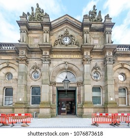 ACCRINGTON, UK - APRIL 18, 2018: The classical facade of the Accrington Market  Hall designed by J. F. Doyle in 1868-69. Lancashire, UK