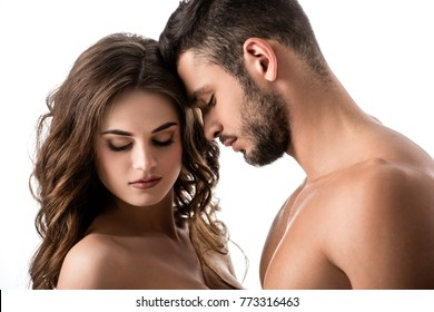 acctractive sensual couple isolated on white