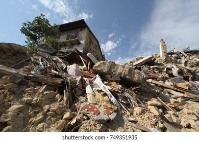 Accumoli - Italy - August 28, 2017 - The village of Accumoli destroyed by the earthquake of 2016