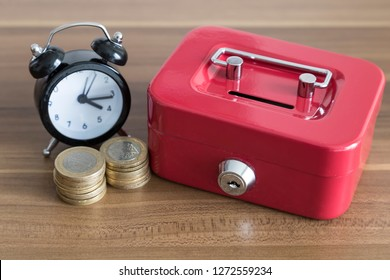 accumulate for poor people or investment .coins,hand ,calculator and red moneybox on the white background for charity foundation concept.person throwing money into piggy bank