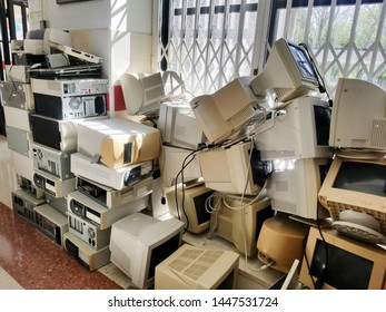 Accumulation of old computers converted into electronic waste