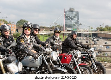 Ace Cafe, North London, UK, 14th September, 2014. The lead riders from the Ace Cafe preparing to ride out to Brighton from the Ace Cafe as part of a reunion