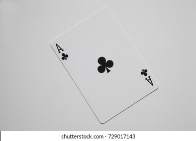 Ace of clubs poker card on white background