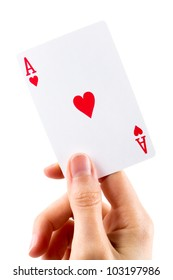 Ace of hearts being held on white