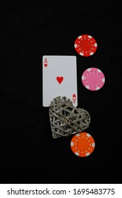 Ace of hearts with heart and poker dice