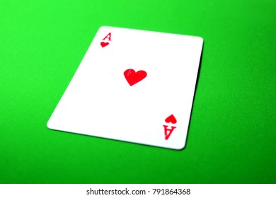 Ace Playing Card Game Isolated On Green Background Great for Any Use.