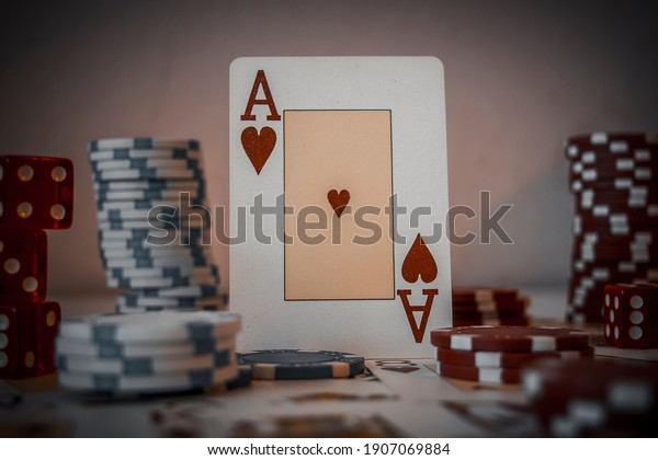 Ace poker card in a spotlight, casino and gambling concept