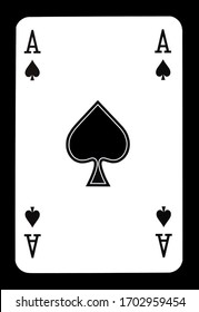 Ace of spades playing card, isolated on black background.